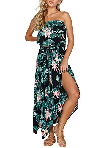 Dokotoo Womens Plus Size Bohemian Amazon Summer Strapless Sundress Boho Beach Sleeveless Leaf Floral Print A Line Casual Long Maxi Dresses XX-Large (Leaf Summer)