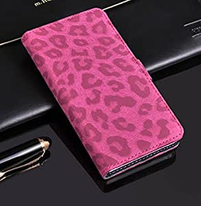 Big Mango Multipurpose Fashion Flip Folio PU Leather Case Business Cover Leopard Print Cellphone Skin for Sony L36H Xperia Z C6603 C6602 L36i C660X with Multiple ID Card Holders & Magnet Closure & Bracket (Plum)