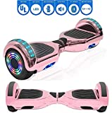 NHT 6.5' Chrome Edition Hoverboard Self Balancing Scooter w/LED Wheels and Lights (Chrome Rose Gold)
