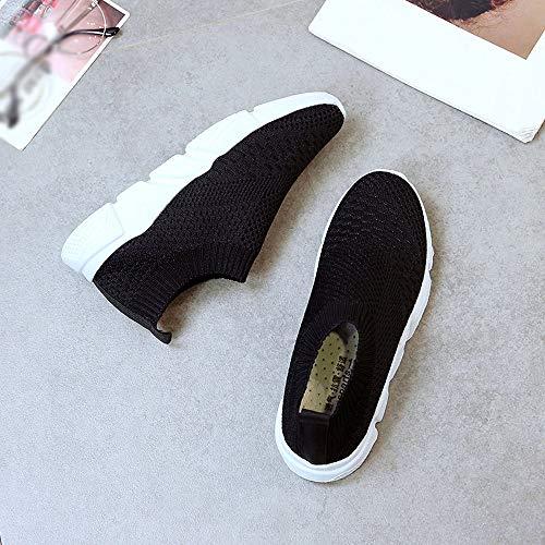 Sneaker on Sportschuhe Slipper Casual Schuhe FNKDOR Mesh Damen Schwarz Slip 0SnqwPnXvx