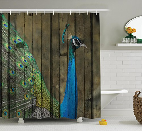 Cheap  Ambesonne Peacock Decor Collection, Peacock Mural on the Wall Royal Mythological Animal..