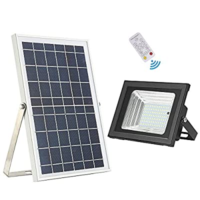 Solar Flood Light,HJLFA Remote Control 98 LEDs 10W Solar Panel IP65 Waterproof Solar Powered Flood Lights Outdoor for Flag Pole,Business Sign,Pool,Backyard,Patio,Parking Lot,Driveway