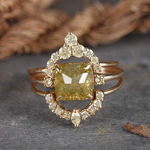 Genuine 2.06 Ct. Cushion Shape Diamond Delicate Ring Solid 14k Yellow Gold Wedding Handmade Fine Jewelry