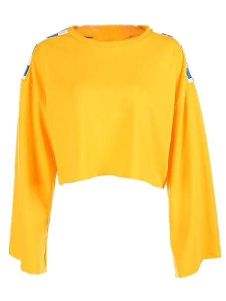 BESTHOO Sudaderas De Manga Larga Mujer Pullover Cuello Redondo Patchwork Camiseta Corto Cropped Sudadera Universidad Casuales Jersey Hipster Bonitas Tops ...