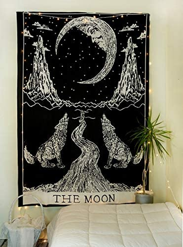 Popular Handicrafts Crying Wolf of The Moon Tapestry Black and White Wall Hanging Bohemian Hippie Ethnic Wall Art Boho Hippy Twin Bedspread Dorm D/écor Meditation Tapestries Kp906