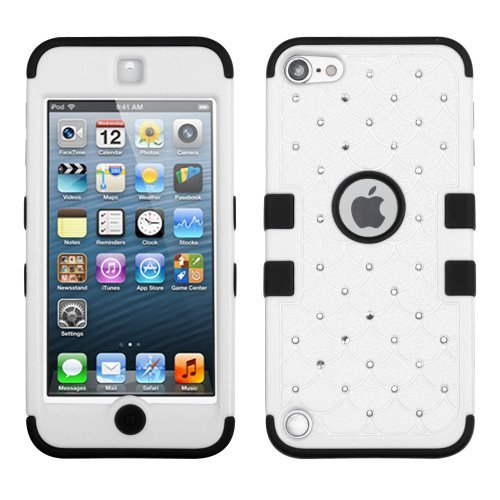 MYTURTLE Shockproof Hybrid Case Hard Silicone Shell High Impact Cover with Stylus Pen and Screen Protector for iPod Touch 5th 6th Generation, Diamonds White Black (Screen Griffin Care Kit)