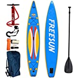 FREESUN 14' Inflatable Paddle Board 6'' Thickness Includes Adjustable Travel Paddle, Travel Backpack, Hand Pump, Leash