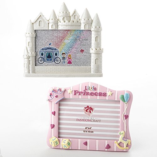 Castle-shaped picture frames in white and baby pink.