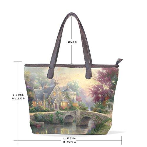 Coosun Damen Schloss und Bäume Pu Leder Große Einkaufstasche Griff Umhängetasche