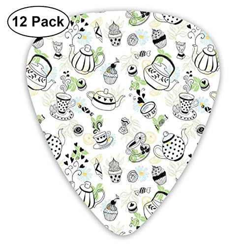(Guitar Picks 12-Pack,Hand Drawn Doodle Style Teapots Cups And Sweets Hearts Flowers Drinks)