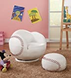 Coaster 460177 Kids Sports Baseball 2 Pc Swivel Chair And Ottoman Set