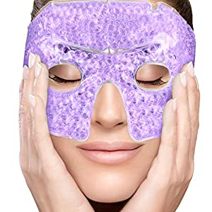 PerfeCore Eye Mask Get Rid of Puffy Eyes Migraine Relief, Sleeping, Travel Therapeutic Hot Cold Compress Pack With Cover Gel Beads, Spa Therapy Wrap for Sinus Pressure Face Puffiness Headaches Purple