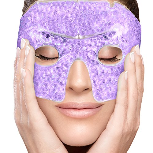 - PerfeCore Eye Mask Get Rid of Puffy Eyes Migraine Relief, Sleeping, Travel Therapeutic Hot Cold Compress Pack With Cover Gel Beads, Spa Therapy Wrap for Sinus Pressure Face Puffiness Headaches Purple