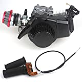 Wingsmoto 49CC 2-stroke Engine Motor Pocket Mini Bike Scooter ATV 6T T8F Chain 44MM Bore + Air Filter + Handle Bar + Throttle Cable