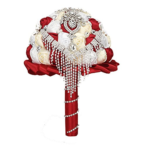 FAYBOX Handmade Rhinestone Brooch Stunning Tassel Wedding Bridal Bouquets Red (Red Rose Handmade Bouquet)