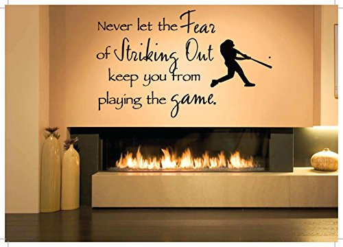 Quote Kids Baseball - Removable Vinyl Sticker Mural Decal Wall Decor Poster Art Baseball Game Player Quote Sport Bats Man Cave Trophy Bedroom Ball Boy Girl Nursery SA476