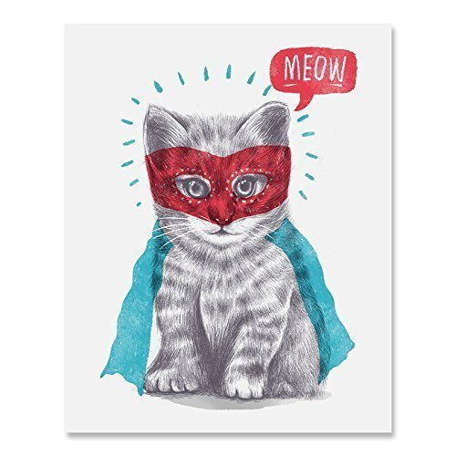 (Super Hero Cat Art Print Cute Masked Superman Caped Kitty Animal Poster Home Decor Funny Meow Illustration 8 x 10 inches)
