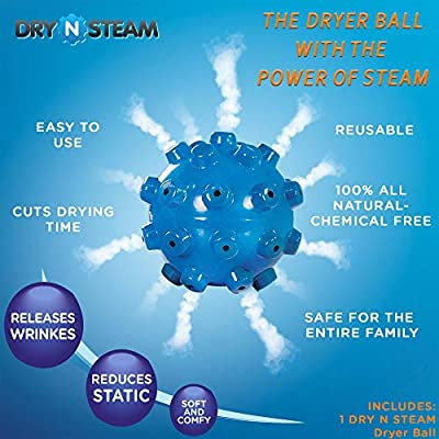 DRY N STEAM- 1 Reusable, Natural, Dryer Ball with Steam- Releases Wrinkles & Reduces Static- Save Time & Energy