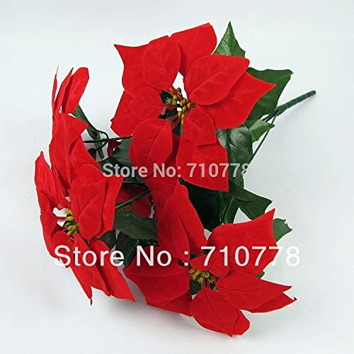 5 Forks Artificial Fabric Silk Flowers Plastic Flower Christmas Poinsettia Home Festival Decoration