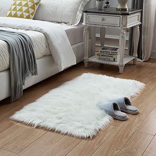 Rectangle Sheepskin Rug Supersoft Fluffy Area Rug Shaggy Silky Throw Rug Floor Mat Carpet Decoration (2 ft x 3 ft, White) -