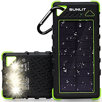Solar Charger SUNLIT | Portable Power Bank with Flashlight | | 16000mAh Dual USB Battery Pack For Iphone Samsung Android [BLACK]
