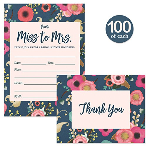 Bridal Shower Invites ( 100 ) & Thank You Cards ( 100 ) Bride's Maid Matron of Honor Fill-in Guest Invitations & Folded Thank You Notes Matching Set with Envelopes Large Celebration Best Value Pair by Digibuddha