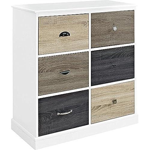 Ameriwood Home Mercer 6 Door Storage Cabinet With Multicolored Door Fronts,  White