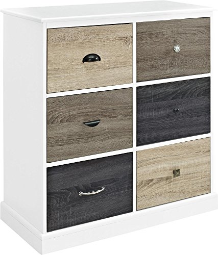 Altra Mercer 6 Door Storage Cabinet with Multicolored Door Fronts, White
