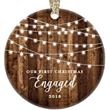 "Engagement Keepsake Gifts 2018, First Christmas Engaged Ornament, Rustic Newly Engaged Couple 1st Xmas Farmhouse Collectible Woodgrain Present 3"" Flat Circle Porcelain w/Gold Ribbon & Free Gift Box"