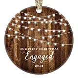 Engagement Keepsake Gifts 2018, First Christmas Engaged Ornament, Rustic Newly Engaged Couple 1st Xmas Farmhouse Collectible Woodgrain Present 3'' Flat Circle Porcelain w/Gold Ribbon & Free Gift Box
