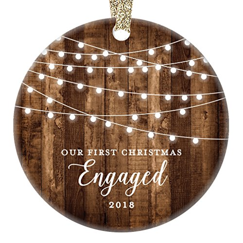 Engagement Keepsake Gifts 2018, First Christmas Engaged Ornament, Rustic Newly Engaged Couple 1st Xmas Farmhouse Collectible Woodgrain Present 3'' Flat Circle Porcelain w/Gold Ribbon & Free Gift Box by Digibuddha