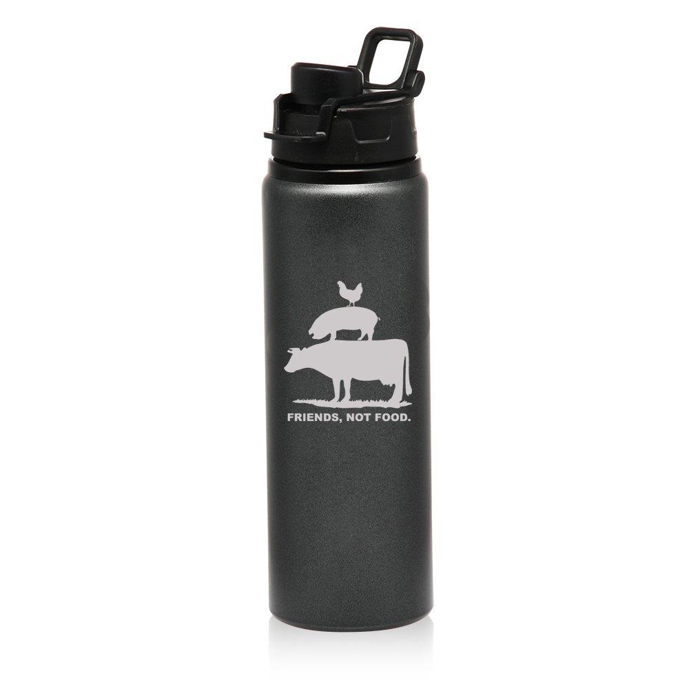 25 oz Aluminum Sports Water Travel Bottle Friends, Not Food Vegan Farm Animal Rights (Charcoal)