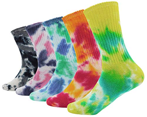 (5 Pack Lady's Women's Colorful Tie-dye Cotton Socks Soft Crew Socks)