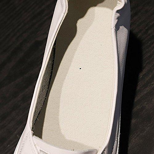 Bianche Nuovo Donna Sandales Scarpe Scarpe Casual Vera maternit Estate Superficiale Versione Scarpe Bocca Piccole Coreana di Scarpe Pelle Basse 0Yznrp0