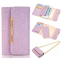 """For iPhone 6 / iPhone 6S Case, Karia Bling Glitter PU Leather Wallet Multi-functional Handbag Detachable Removable Magnetic Case with Flip Card Holder Cover for iPhone6 6S (4.7"""") Purple"""