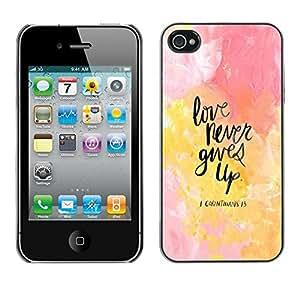 Jordan Colourful Shop - FOR iPhone 4 / 4S - Never give up your dreams - Personalizado negro cubierta de la caja de pl??stico