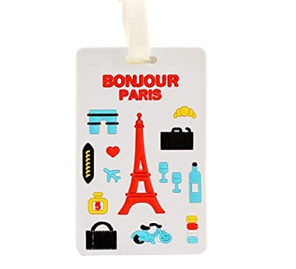 e6bcbe58e149 Cute Silicone Characters/Animals/Pirate Ship/London/Paris/Hlland Luggage  Tags/ID for travel and school (Paris)