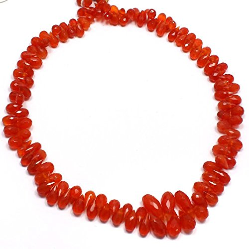 Carnelian Drops Faceted Briolette Beads,11