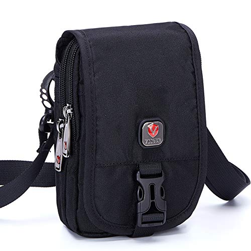 VIIGER Small Travel Man Purse Crossbody Phone Bag Large Cell Phone Pouch Waist Bag Belt Bag for Men Women Shoulder Bag Belt Pouch Compatible for iPhone Xs Max/Xr/X/6/6s/7/8 Plus Galaxy S9 S10 Plus