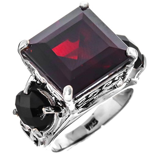 RingSize 9 Onyx Simulated Garnet 925 Sterling Silver Cocktail Ring