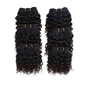Emmet 7A Afro Kinky Curly Hair Weaves 6pcs/lot 300g 50g/pc Brazilian Human Hair Extensions, with Hair Care Ebook (1B#/33#)
