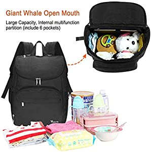 Diaper Bag Backpack, Voova Large Unisex Baby Bag Multifunction Travel Back Pack for Mom Dad, Waterproof Maternity Nappy…