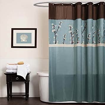 Triangle Home Fashions 19259 Lush Decor Cocoa Flower Shower Curtain, 72 X 72 Inches, Blue/Brown