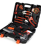 Scuddles 12-Piece Garden Tools Kit Plant Care Tool Home Improvement Tool Sets with Carrying Case Include Secateurs, Trowel Pruners, Pruning Saw, Rakes - Garden Gifts for Men & Women