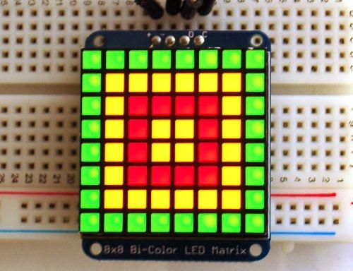 (Adafruit Bicolor LED Square Pixel Matrix with I2C Backpack)