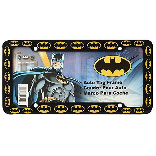 (Batman Colored Bat Logos DC Comics Auto Car Truck SUV Vehicle Universal-fit License Plate Frame - Plastic - SINGLE)