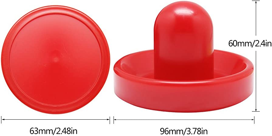 KEBY Lot de 4 Paires de Rechange en Plastique pour air Hockey Rouge 2 poussoirs coulissants et 2 Chiffons en Flanelle pour Tables de Jeu