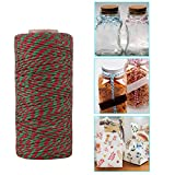 CHICTRY 100M 2Ply Natural Cotton Bakers Twine Rope Durable Packing String for Gift Wrapping Decoration Red&Green 100M
