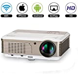 Wifi Wireless LED Projector with Airplay HDMI for iPhone Android TV DVD Tablet Laptop,LCD Home Outdoor Wireless Android Projector with HDMI USB VGA RCA Audio AV Kodi Youtube Mac XBOX PS4 Compatible