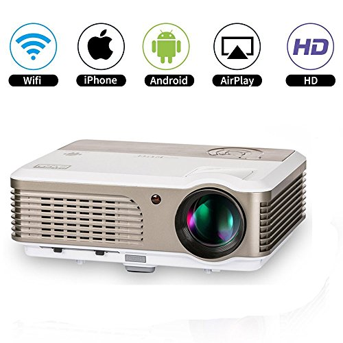 Projector No Lens Theater (Wireless LED HD Home Theater Projectors Smart Android LCD Video Projector Wifi Airplay Miracast HDMI USB VGA AV RCA Audio for DVD Laptop iPhone iPad PC Mac Outdoor Movie Game Projector with Zoom)